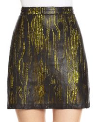 Alice + Olivia Laser-cut Leather Skirt - Lyst