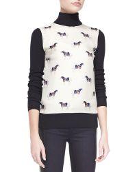 Tory Burch Etty Horseprint Silk Wool Sweater - Lyst