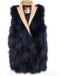 MSGM Vest with Fur Front - Lyst