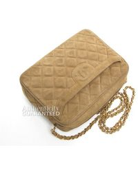Chanel Pre-Owned Tan Suede Quilted Cc Tassel Camera Bag - Lyst