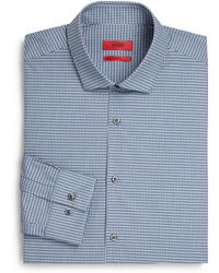Hugo Slim-Fit Micro Check Dress Shirt - Lyst