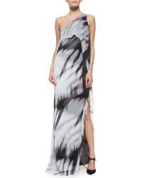 Halston - One-shoulder Tie-dye Long Caftan Dress - Lyst