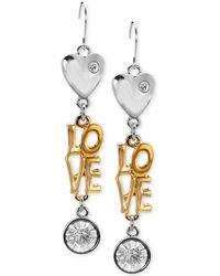 Guess Two-tone Love Drop Earrings - Lyst
