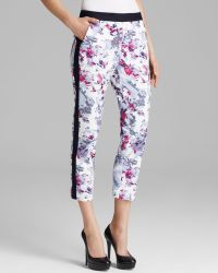 Adrianna Papell - Printed Cropped Slim Fit Trousers - Lyst