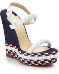 Christian Louboutin Cataclou Rope & Stud-Trimmed Denim Wedge Sandals - Lyst
