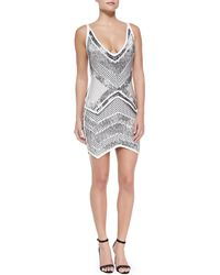 Hervé Léger Juliet Geometric Beaded Bandage Dress - Lyst