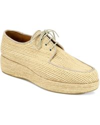 Carven - Clergerie Woven Raffia Wedge Oxfords - Lyst