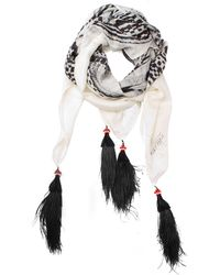 Alexander McQueen Printed Silk and Feathers Scarf - Lyst
