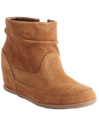 Dv By Dolce Vita Cognac Textured Leather Keebly Perforated Detail Wedge Bootie - Lyst