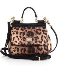 Dolce & Gabbana Sicily Micro Leopard-Print Textured Leather Top-Handle Satchel - Lyst