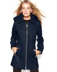 Michael Kors Michael Petite Hooded Zip-front Wool-blend Coat - Lyst