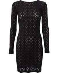 Gareth Pugh Patterned Micromesh Dress Black - Lyst
