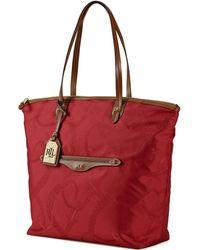 Lauren by Ralph Lauren Leather Trim Equestrian Tote Bag - Lyst