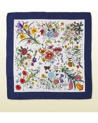 Gucci White And Blue Flora Silk Printed Scarf - Lyst