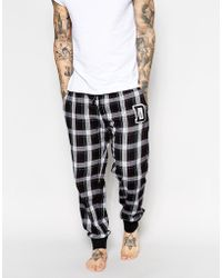 Diesel Check Cuffed Lounge Bottoms - Lyst