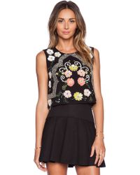 Needle & Thread Black Locket Top - Lyst