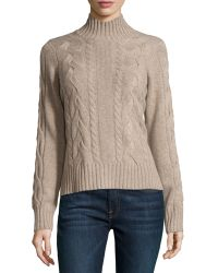 Neiman Marcus | Cashmere Cable-knit Mock-neck Sweater | Lyst