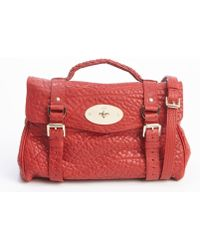 Mulberry Poppy Red Pebbled Leather Alexa Satchel Bag - Lyst