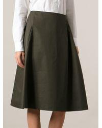 Sofie D'hoore Side Pleated Midi Skirt - Lyst