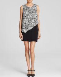 DKNY Animal Print Overlay Ponte Dress - Lyst