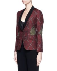 Ibrigu - One Of A Kind Argyle Pattern Silk Jacquard Blazer - Lyst