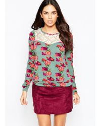 Madam Rage - Rose Print Top With Lace Detail - Lyst