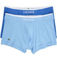 Lacoste Blue Shade Trunk Two-Tone Cotton Boxer Shorts blue - Lyst