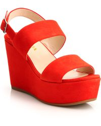 Prada | Suede Platform Wedge Sandals | Lyst