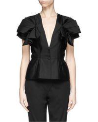 Alexander McQueen Ruffle Sleeve Wool-Silk Jacket black - Lyst