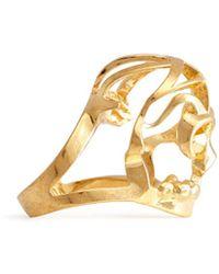 Alexander McQueen Deco Skull Ring gold - Lyst
