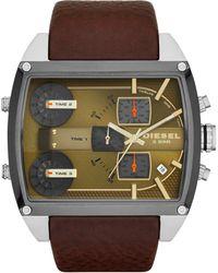Diesel Mens Chronograph Mega Tank Brown Leather Strap Watch 53mm - Lyst