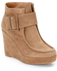 Nine West Backtrack Suede Wedge Ankle Boots - Lyst