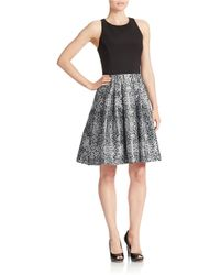 Betsy & Adam Snakeskin-Print Skirt Fit-And-Flare Dress - Lyst