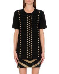 Balmain Rope-detail Cotton-jersey T-shirt - Lyst