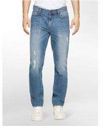 Calvin Klein | Jeans Slim Straight Leg Essential Blue Wash Jeans | Lyst