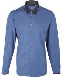 Jonathan Saunders Blue Patch Pocket Contrast Collar Cotton Shirt - Lyst