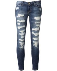 Current/Elliott Blue Distressed Jeans - Lyst