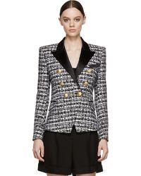 Balmain Black And White Tweed Blazer - Lyst