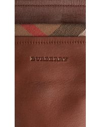 Burberry Check Trim Leather Gloves - Lyst