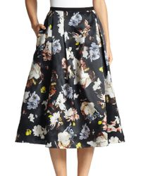 Erdem Imari Floral Silk Midi Skirt - Lyst