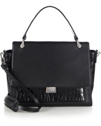 Elizabeth and James Charlie Smooth Leather & Crocodile-Embossed Leather Satchel black - Lyst