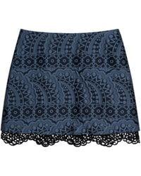 Cynthia Rowley Jacquard Mini Skirt W- Lace Trim blue - Lyst