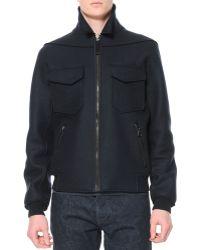 Lanvin Felted Wool Bomber Jacket - Lyst