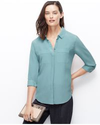 Ann Taylor Silk Camp Shirt - Lyst