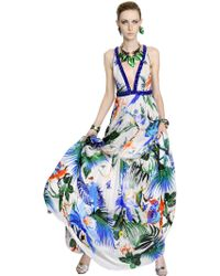 Roberto Cavalli Embellished & Printed Silk Chiffon Dress - Lyst