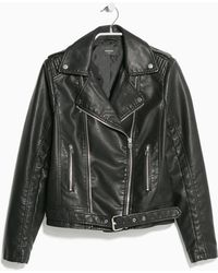 Mango Leather Biker Jacket - Lyst