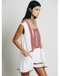 Free People Sleeveless Embroidered Tunic - Lyst