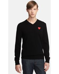 Comme des Garçons 'Play' Wool V-Neck Sweater With Heart Applique - Lyst