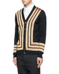 Alexander McQueen Metallic Stripe Wool Cardigan - Lyst