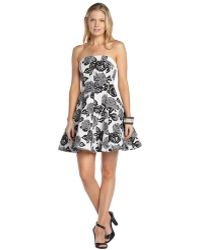 ABS By Allen Schwartz Black And White Stretch Cotton Blend Floral Print Strapless Flare Dress - Lyst